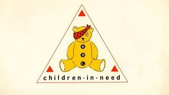 The very first Pudsey bear and logo, used in 1985