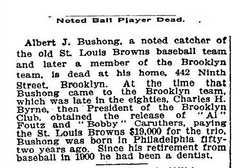 Doc Bushong's 1908 obituary from the New York Times