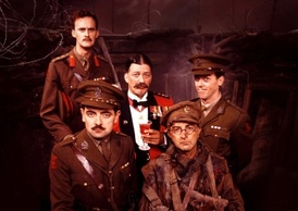 Main characters from Blackadder Goes Forth: Darling (left), Melchett (centre), George Colthurst (right), Baldrick (bottom right), Blackadder (bottom left)