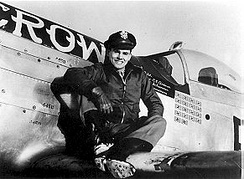 "Capt. Clarence E. ""Bud"" Anderson, 363d FS. Capt Anderson flew three P-51s (2 B and 1 D) which he named ""Old Crow"" (B6-S), this aircraft being P-51D 44-14450."