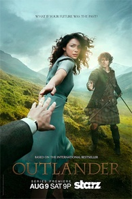 Promotional poster for season one, featuring Caitriona Balfe and Sam Heughan.