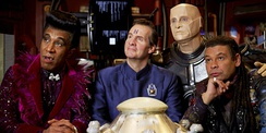 From left to right: Cat, Rimmer, Kryten, and Lister as they appeared in Series X (2012)