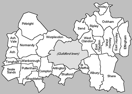 Map of Guildford Borough showing its parts: Guildford town and civil parishes which provide an additional layer of government for nearby villages