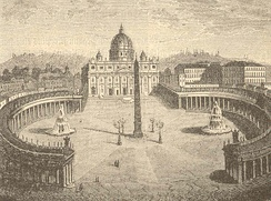 St. Peter's Square before Pope Pius IX added statues of Saints Peter and Paul