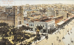 The city of Piraeus and the church of Saint Spyridon; postcard of 1887.