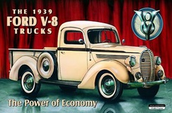 An advertisement for the 1939 Ford V-8 pick-up truck