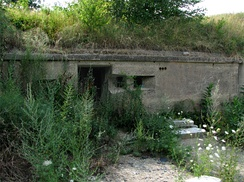 A data booth at Battery Kellogg, Ft. Banks, Winthrop, MA, built into the wall of mortar pit B