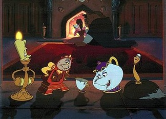 Several of Beauty and the Beast's main characters. From left to right: Lumière, Cogsworth, Chip, Mrs. Potts and Babette. Belle and the Beast are seen in the background.