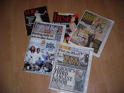 An issue of The Mail on Sunday from 25 November 2007 with all its supplements. The First magazine was included as a preview before it was released on general sale.