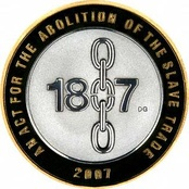 200th anniversary of the British act of parliament abolishing slave trading, commemorated on a British two pound coin.