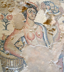 Offering of fruits and grains held in a Roman cornucopia, Nile House mosaics