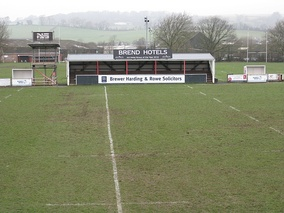 View from main stand showing smaller stand opposite (training pitches are also visible)