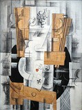 Georges Braque, 1913, Nature morte (Fruit Dish, Ace of Clubs), oil, gouache and charcoal on canvas, 81 x 60 cm (31.8 x 23.6 in), Musée National d'Art Moderne, Centre Georges Pompidou, Paris