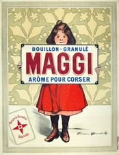 "French advertising poster ""Maggi Arome Pour Corser"" by Firmin Bouisset, circa 1895."