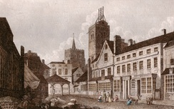 St. Albans High Street in 1807, showing the shutter telegraph on top of the city's Clock Tower. It was on the London to Great Yarmouth line.[56]