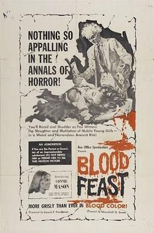 Poster art for Blood Feast (1963), considered to be the first splatter film
