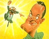 Jerry Colonna and Bob Hope as caricatured by Sam Berman for NBC's 1947 promotional book