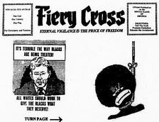 An inflammatory cartoon from a Klan-related newsletter, The Fiery Cross, used as evidence in the civil trial that followed the murder of Michael Donald