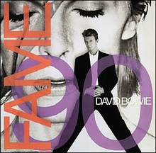 "The single cover shows David Bowie standing in front of a Ziggy-era poster and the words ""Fame 90 David Bowie"""