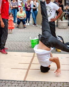 A breakdancer performing in Schildergasse, Cologne, 2017
