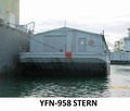 YFN-958 a covered lighter barge, non-Self-propelled. Built by Mare Island Navy Shipyard in 1944.