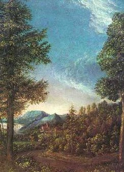 16th-century Danube landscape near Regensburg, by Albrecht Altdorfer – a member of the Danube school.