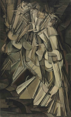"Marcel Duchamp. Nude Descending a Staircase, No. 2 (1912). Oil on canvas. 57 7/8"" x 35 1/8"". Philadelphia Museum of Art."