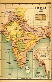 Map of India in 1857 at the end of British East India Company's rule.