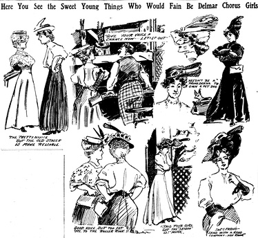 Sketches by artist Marguerite Martyn of women trying out for the chorus at the Delmar Theater in St. Louis in May 1906, with quotations from some of those pictured