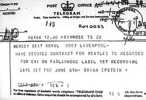 The telegram that Epstein sent to Mersey Beat newspaper in Liverpool to announce that he had secured the Beatles their first recording contract