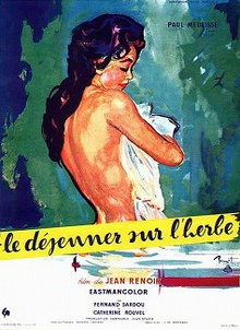 The film poster features a painting of the upper body of a nude, dark haired woman. She looks down, is turned away and covers the front of her body with a piece of cloth. Below her is a yellow stripe with the film's French title written in lower case.