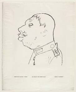 Made in Germany (Den macht uns keiner nach), by George Grosz, drawn in pen 1919, photo-lithograph published 1920 in the portfolio God with us (Gott mit Uns). Sheet 48.3 × 39.1 cm. In the collection of the MOMA, New York.