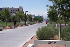 The Las Vegas Strip can be seen in the distance from various points on the UNLV campus