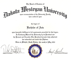 An example of a US bachelor's degree diploma.