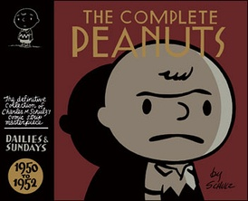 The first volume of The Complete Peanuts from Fantagraphics Books with cover design by Seth