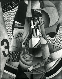 Jean Metzinger, 1913, En Canot (Im Boot), oil on canvas, 146 x 114 cm, confiscated by the Nazis c.1936 and displayed at the Degenerate Art Exhibition in Munich. The painting has been missing ever since.[24][25]