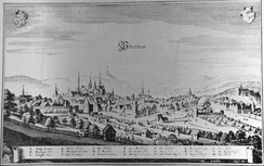 A view of Pforzheim in the early 17th century. It shows all significant landmarks including the city wall, the rivers Enz and Nagold, the three monastery churches and the Margrave's residence on Schlossberg hill.