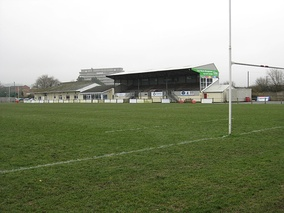 Main stand and club-house at Pottington Road, home of Barnstaple RFC