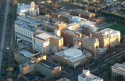 Aerial view of Royal Melbourne Hospital in Parkville