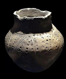 An Anglo-Frisian funerary urn excavated from the Snape ship burial in East Anglia. Item is located in Aldeburgh Moot Hall Museum