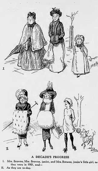 "A cartoon in Punch (1911) compares changes in fashion between 1901 and 1911. ""The dowdy voluminous clothes of the earlier date, making the grandmother an old lady and the mother seem plain, had been replaced by much simpler looser wear producing a sense of release for all three females.""[71]"