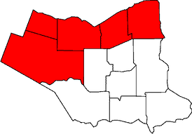 The municipalities which previously formed Lincoln County are highlighted in red.  They are now part of the Regional Municipality of Niagara.