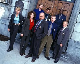 Main cast at the beginning of season seven of NYPD Blue, l-r Thompson, Delaney, Brochtrup, Franz, Turturro, Schroder, McDaniel, Clapp