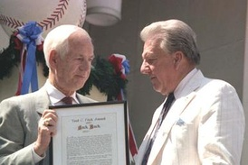 Jack Buck (left) with Ralph Kiner at the 1987 Hall of Fame induction ceremony.