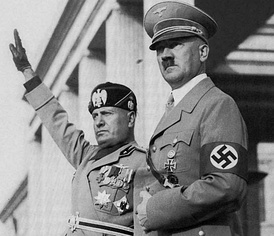 Benito Mussolini, dictator of Italy from 1922 to 1943[A] and Adolf Hitler, dictator of Germany from 1933 to 1945
