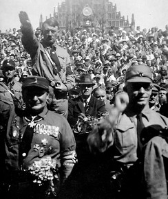 Hitler and Hermann Göring with SA stormtroopers in front of Frauenkirche, Nuremberg in 1928