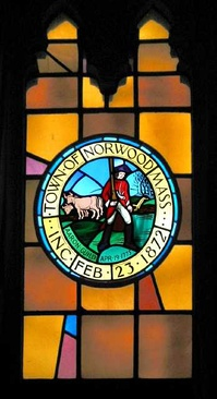 Stained-glass window in Norwood Town Hall depicting town seal.[11]
