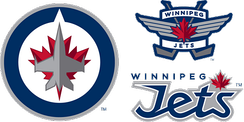 The main and secondary logos of the Winnipeg Jets. The primary logo incorporates the RCAF roundel, and was prominent on the uniforms of the Ottawa RCAF Flyers[50]