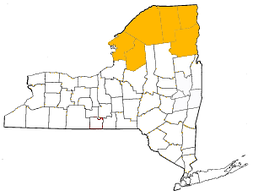 Counties of the North Country highlighted