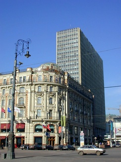 Corner of Manege Square: extant National Hotel and demolished Intourist Hotel (1970–2002)